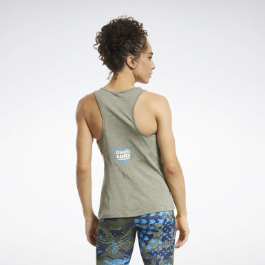Women Fitness & Training Green Reebok CrossFit® ACTIVCHILL+COTTON Tank Top