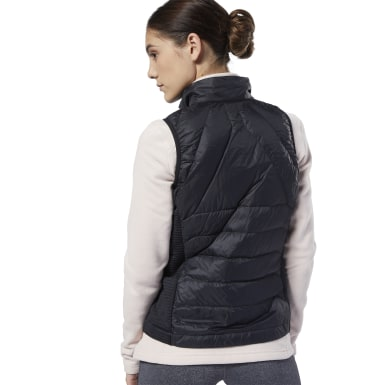 Women Outdoor Black Outerwear Thermowarm Hybrid Down Vest