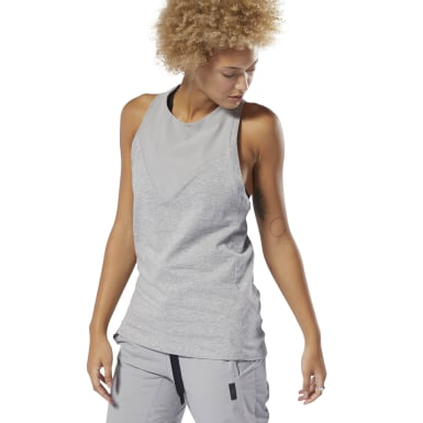 Camiseta sin mangas Training Supply Racer Gris Mujer Fitness & Training