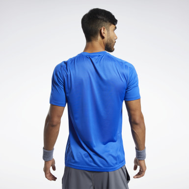 Heren Yoga Blauw Workout Ready Polyester Tech T-shirt