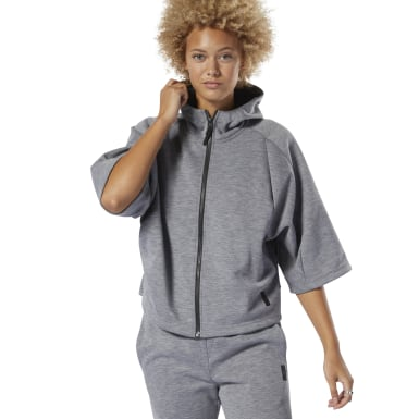 Women Training Grey Training Supply Full-Zip Hoodie