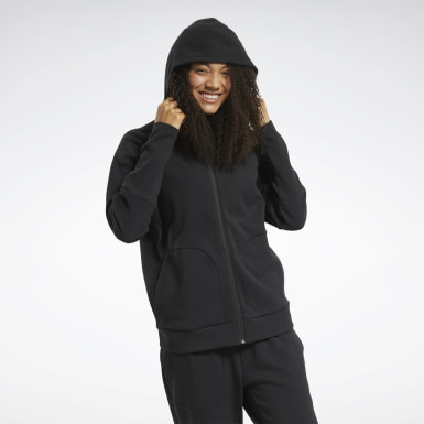 Women City Outdoor Black Quik Cotton Full-Zip Hoodie