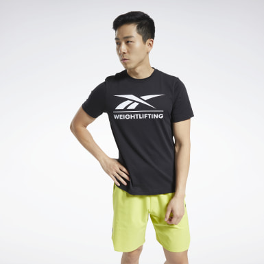 Men Cross Training Black Reebok Weightlifting Tee