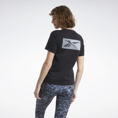 Women Classics Black Classics Allover Print Split Vector Tee
