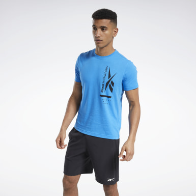 Men Training Blue Graphic Tee
