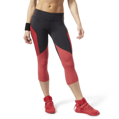 Women Studio Red Cardio Lux 3/4 Length 2 Leggings