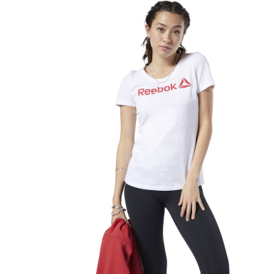 CAMISETA DE CUELLO EN U REEBOK LINEAR READ Blanco Mujer Fitness & Training