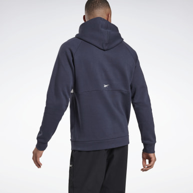 Men Fitness & Training Blue Training Essentials Linear Logo Hoodie