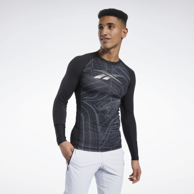 Maglia Compression Printed Long Sleeve Nero Uomo Trail Running