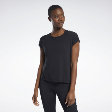 Women Yoga Black Burnout Tee