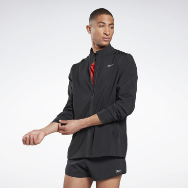 Männer Trail Running Running Essentials Woven Wind Jacket Schwarz