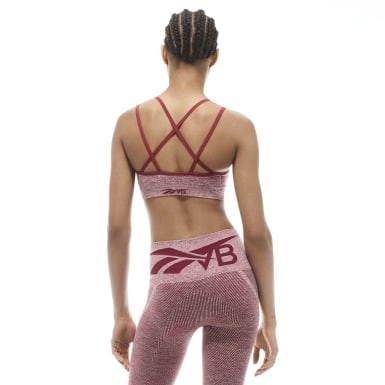 Women Fitness & Training Burgundy Victoria Beckham Seamless Textured Bra