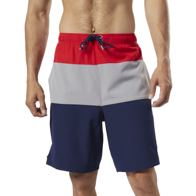 Men Swim Red Colorblock Tab Volley Shorts