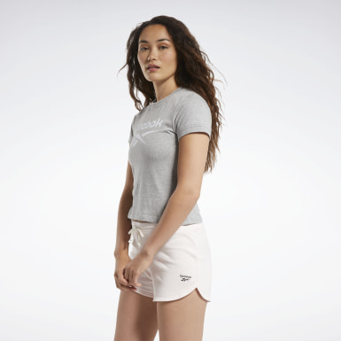 TE Texture Logo Tee Gris Mujer Fitness & Training