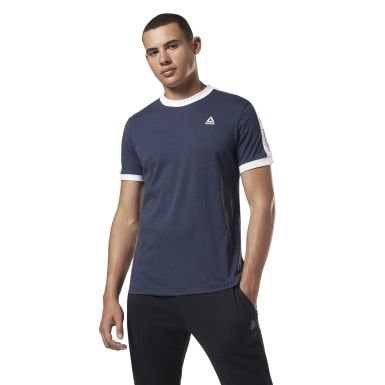 Men Fitness & Training Blue Training Essentials Linear Logo Tee