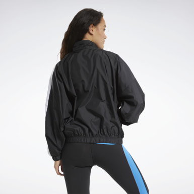 Women Fitness & Training Black Training Essentials Woven Linear Logo Jacket