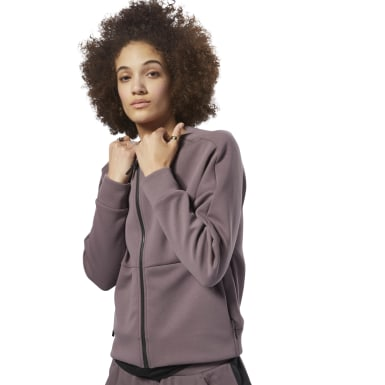 Women Lifestyle Grey Training Supply Full-Zip Coverup