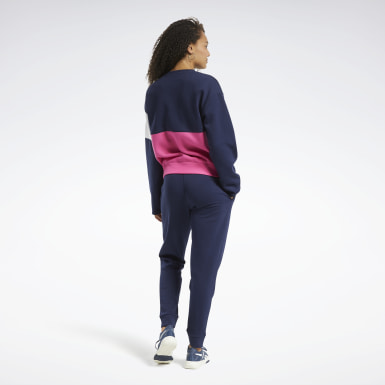 Tuta Linear Logo Crewneck Blu Donna Fitness & Training