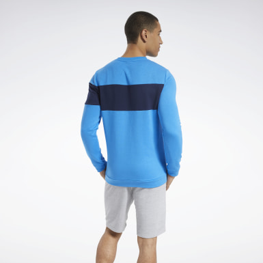 Men Fitness & Training Blue Training Essentials Fleece Crew Sweatshirt