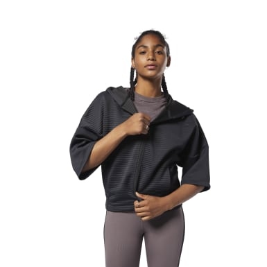 Women Fitness & Training Black Thermowarm Deltapeak Short Sleeve Full Zip