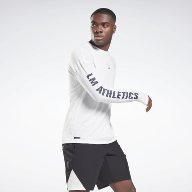 Mænd Studio White Les Mills® Long Sleeve T-Shirt