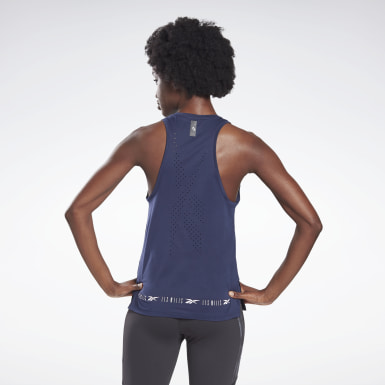 Camiseta sin mangas LES MILLS® Perforated Azul Mujer Ciclismo