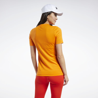 Women Fitness & Training Orange Workout Ready Supremium Tee