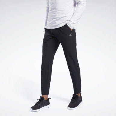 Men Training Black Tapered Stretch Woven Pants