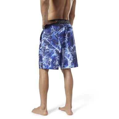 Men Swim Blue Reebok Jacquard E-Board Shorts