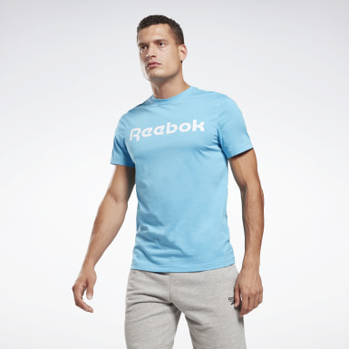 T-shirt Graphic Series Linear Logo Turquoise Hommes Fitness & Training