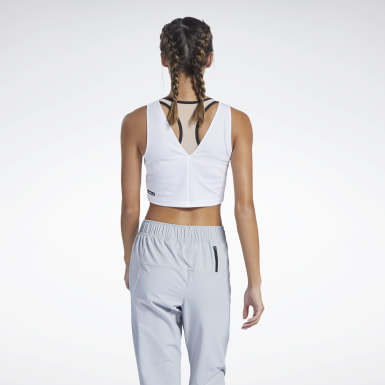 Frauen Studio Les Mills® Perforated Crop-Top Weiß