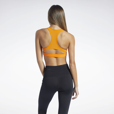 Women Studio Orange Reebok Hero Medium-Impact Racer Bra
