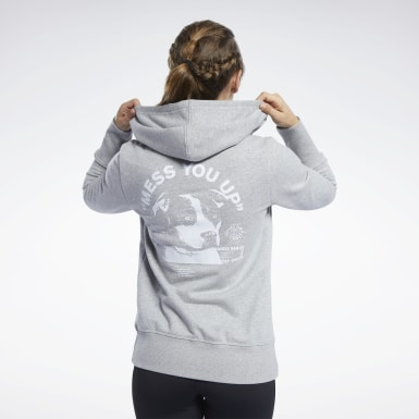 Felpa con cappuccio Reebok CrossFit® Full-Zip Grigio Donna Cross Training