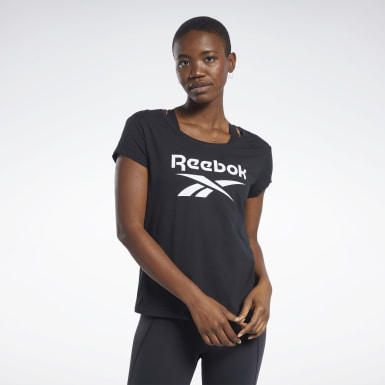 Women Training Black Graphic Tee