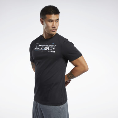 Men Fitness & Training Black Graphic Tee
