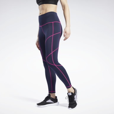 Women Fitness & Training Blue MYT Contrast Stitch Leggings