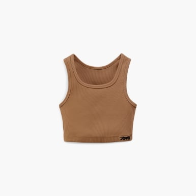 Women Training Beige Victoria Beckham Rib Crop Top