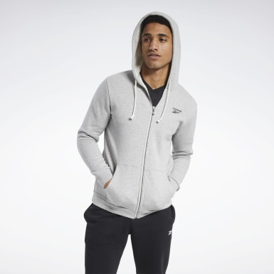 Men Outdoor Grey Training Essentials Fleece Zip Up Hoodie