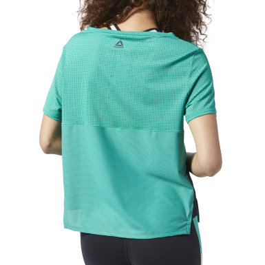 Women Fitness & Training Green Perforated Performance Tee