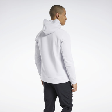 Men Training White Knit Half-Zip Control Hoodie