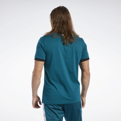 Men Fitness & Training Turquoise Training Essentials Linear Logo Tee