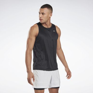 Men Hiking Black Running Essentials Singlet