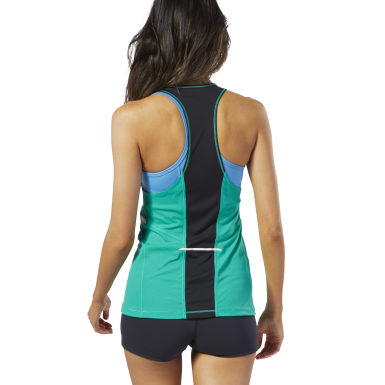 Women Running Turquoise Boston Track Club Singlet