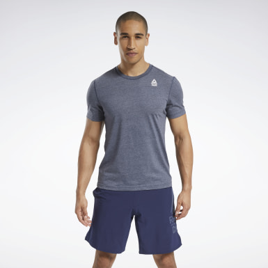 Men Cross Training Blue Reebok CrossFit® Burnout Tee