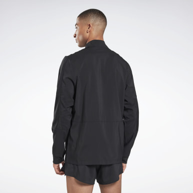 Men Terrengløping Black Running Essentials Woven Wind Jacket