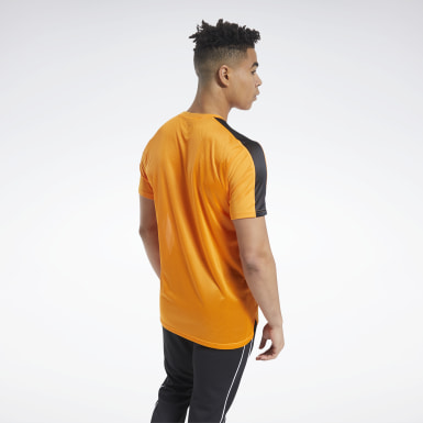 Men Cycling Orange Workout Ready Tech Tee