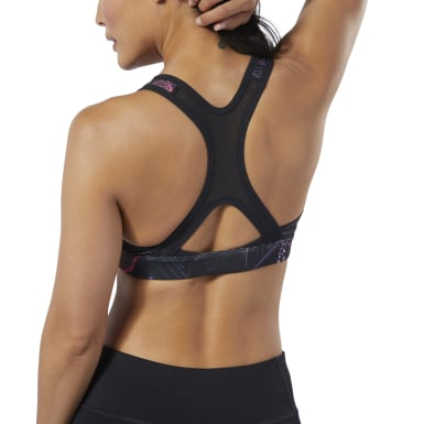 Women Running Black Hero Racer Medium-Impact Padded Bra