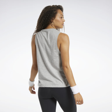 Women Training Grey Graphic Tank Top