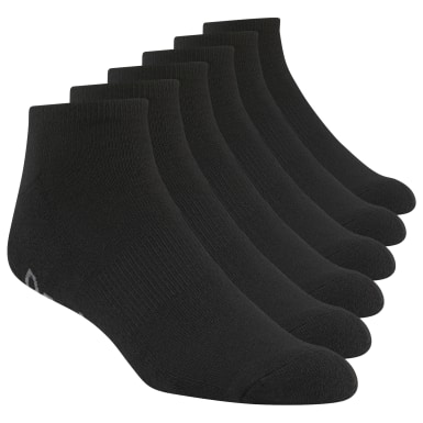 Men Training Black Reebok  Delta Big & Tall Low Cut Socks - 6 Pack