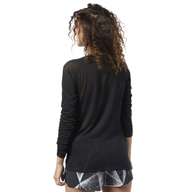 Women Training Black One Series Burnout Long Sleeve Tee